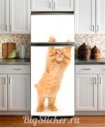 Наклейка на холодильник Котик Z009