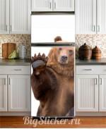 Наклейка на холодильник Медведь Z007