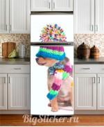 Наклейка на холодильник Собачка в шапке Z013