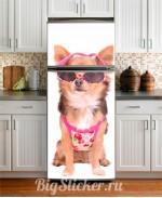 Наклейка на холодильник Собачка в очках Z014